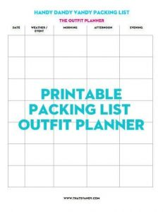 packing list/outfit planner