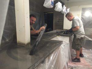 sanding the concrete countertops