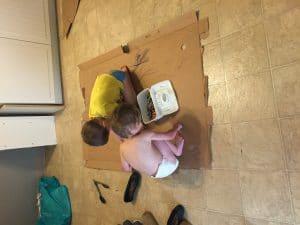 boys and cardboard crafts